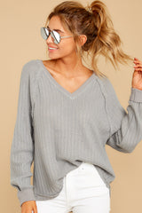 5 Anything But Basic Grey Top at reddressboutique.com