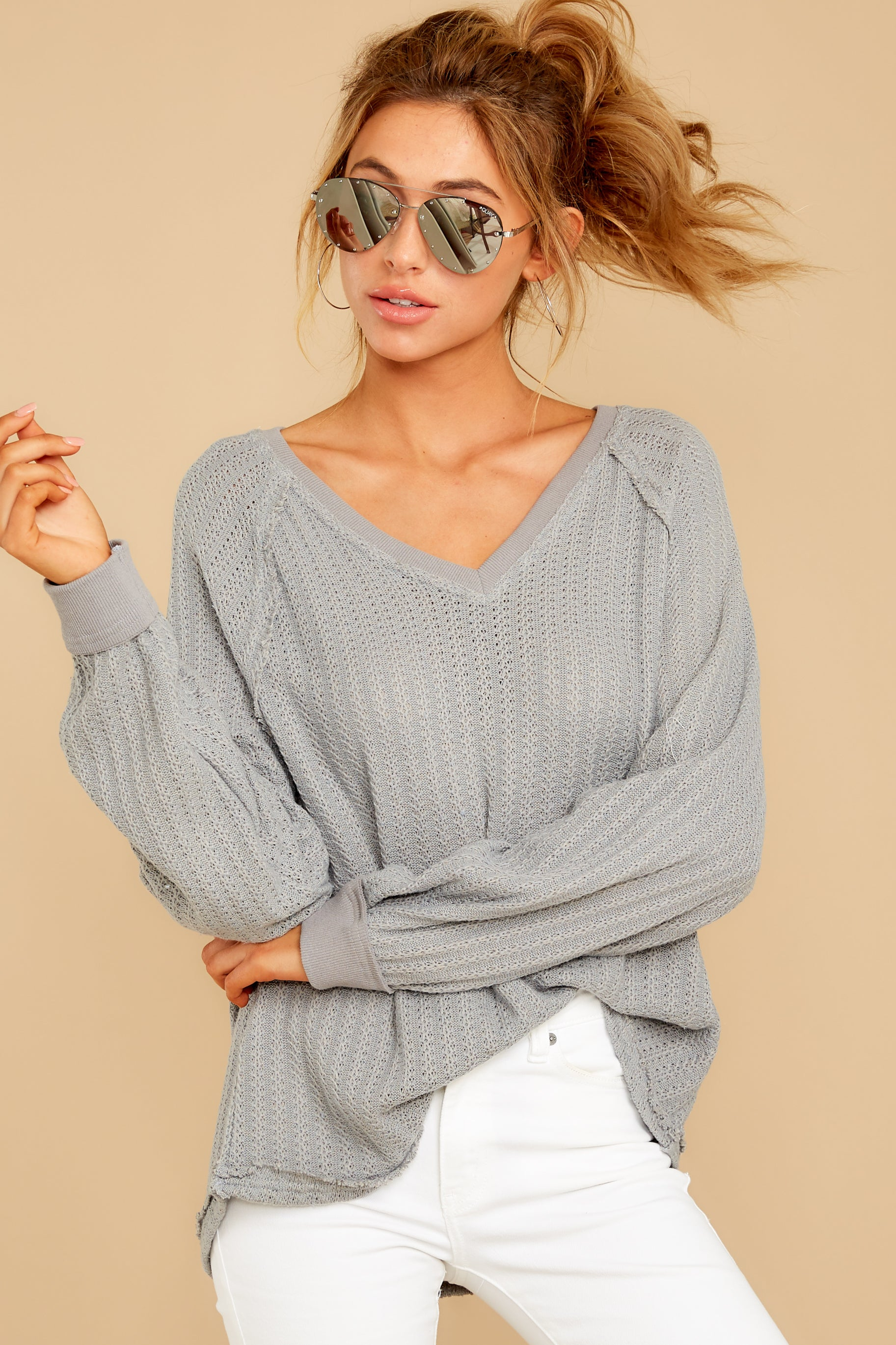6 Anything But Basic Grey Top at reddressboutique.com