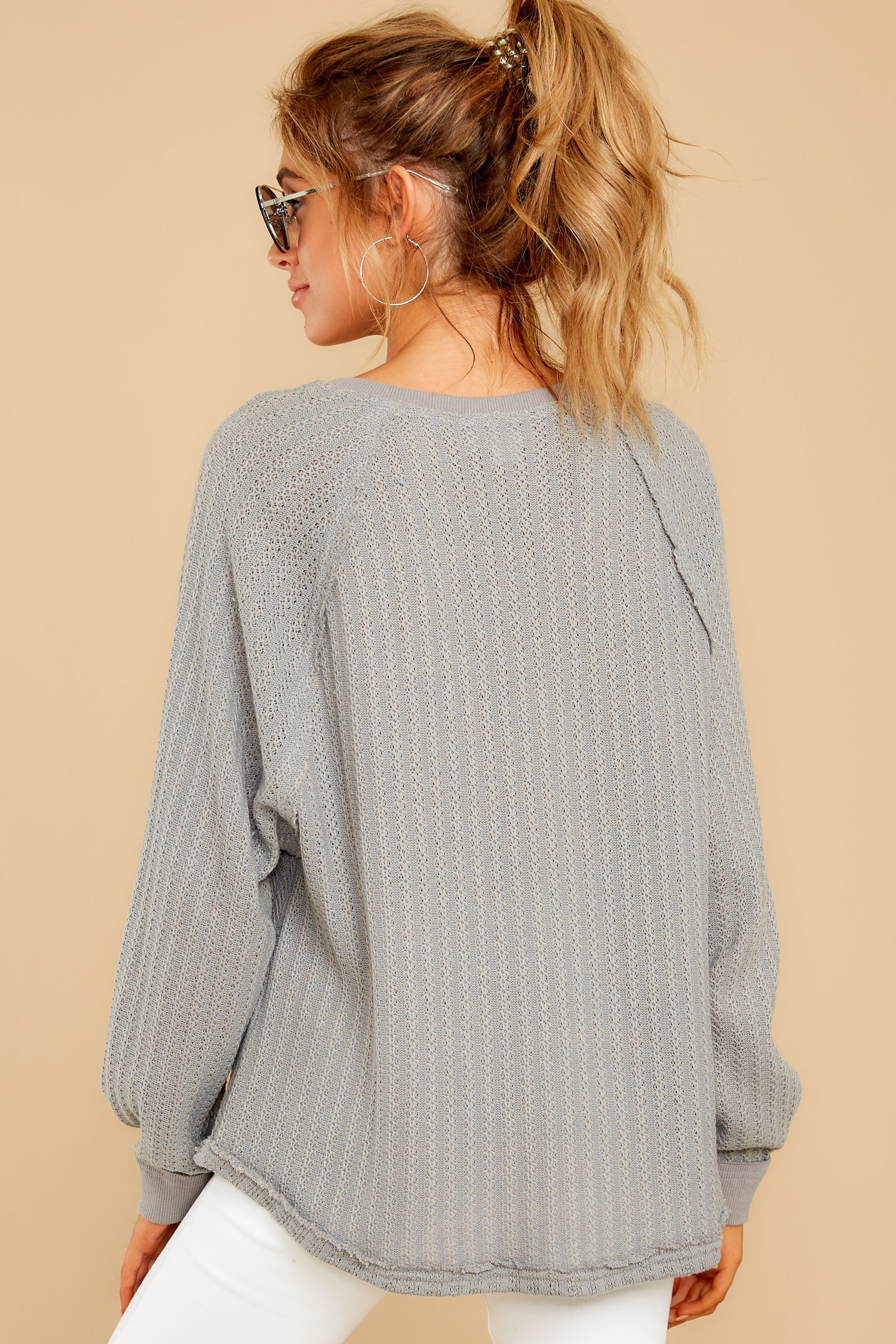 9 Anything But Basic Grey Top at reddressboutique.com