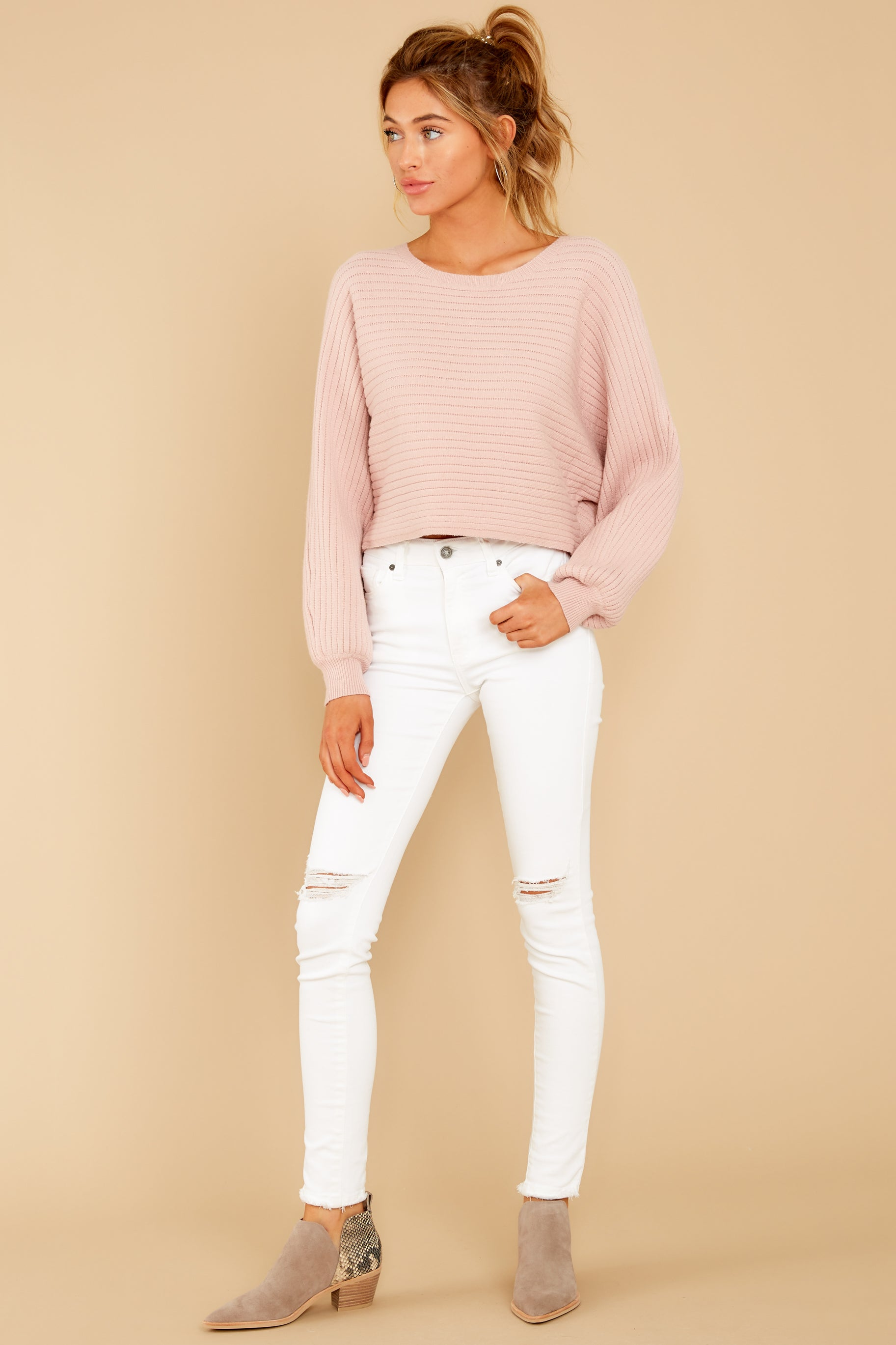 1 Just Your Type Light Pink Crop Sweater at reddressboutique.com