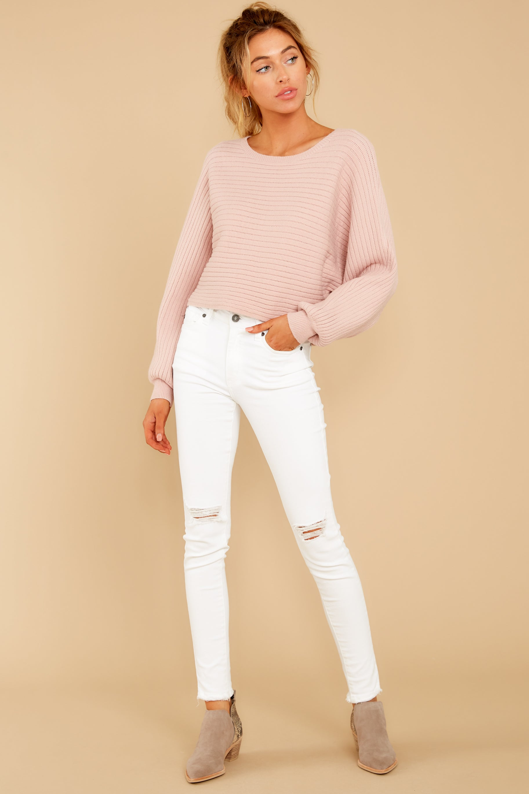 2 Just Your Type Light Pink Crop Sweater at reddressboutique.com