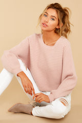 3 Just Your Type Light Pink Crop Sweater at reddressboutique.com