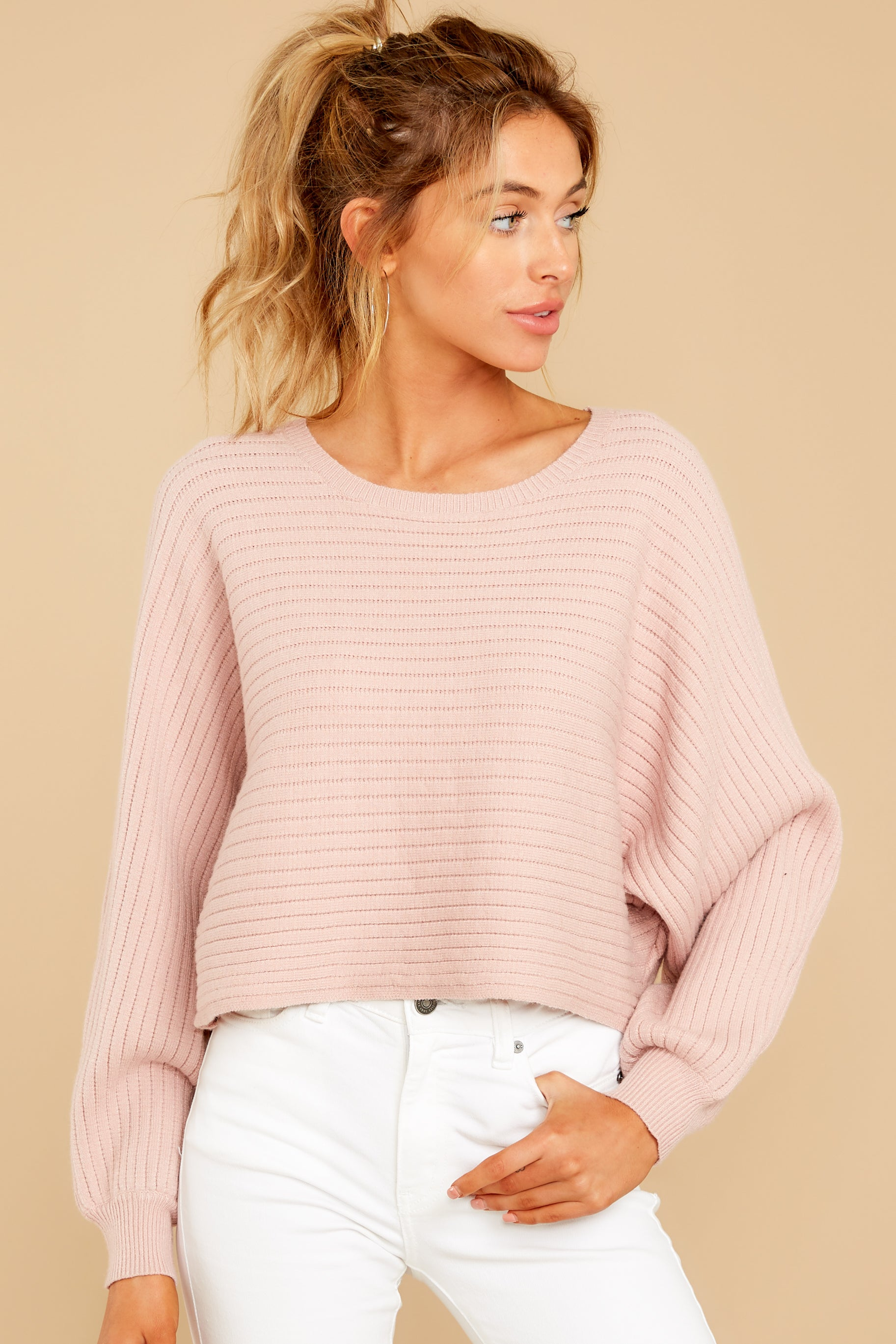5 Just Your Type Light Pink Crop Sweater at reddressboutique.com