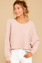 6 Just Your Type Light Pink Crop Sweater at reddressboutique.com