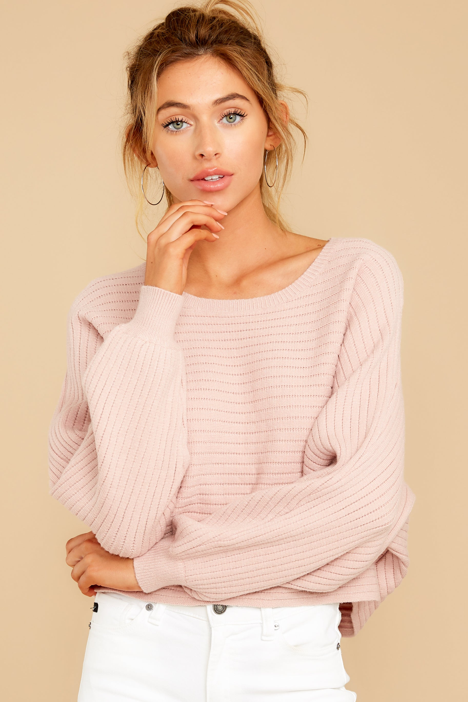 7 Just Your Type Light Pink Crop Sweater at reddressboutique.com