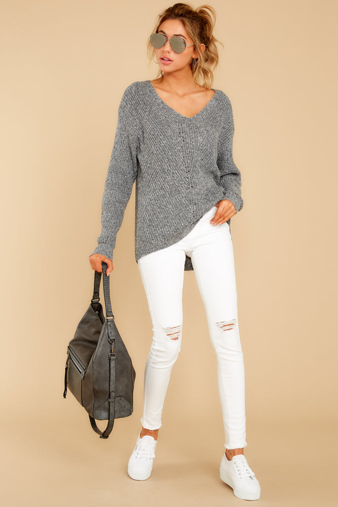 1 Keep Your Cool Charcoal Grey Stripe Sweater at reddress.com