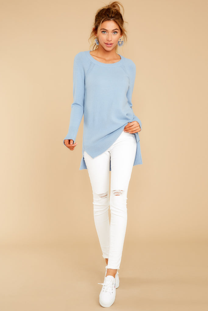 1 Wind Down Ocean Blue Sweater at reddressboutique.com