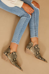 2 Sonni Snake Print Booties at reddressboutique.com