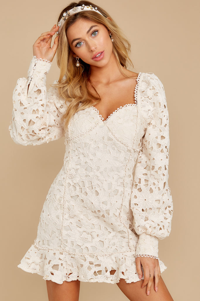 1 Love Ridden Ivory Lace Midi Dress at reddressboutique.com