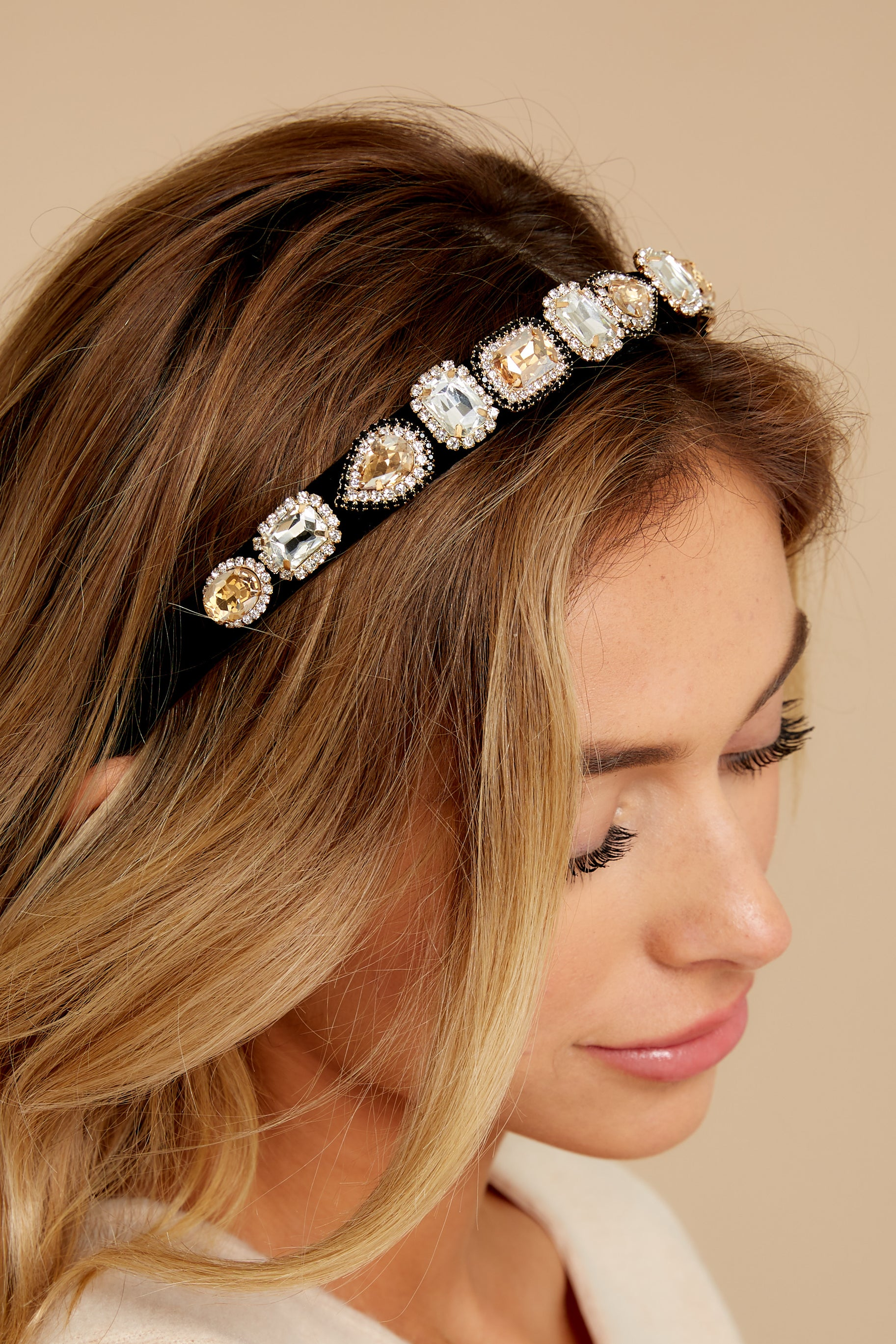 1 She's Darling Black Embellished Headband at reddressboutique.com
