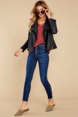 2 Throwback And Smile Black Vegan Leather Jacket at reddressboutique.com