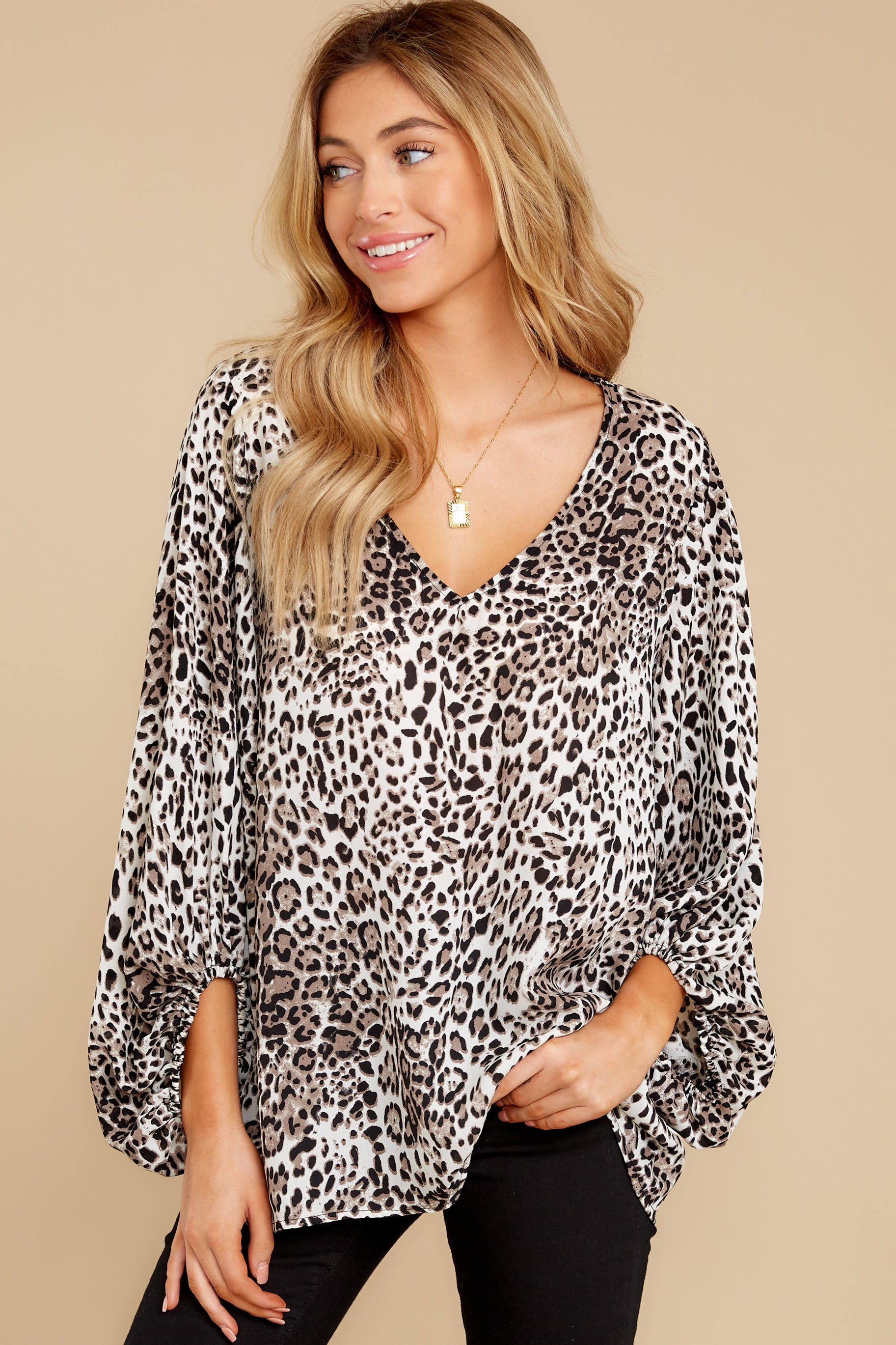 6 Let's Go Ivory Leopard Print Top at reddressboutique.com