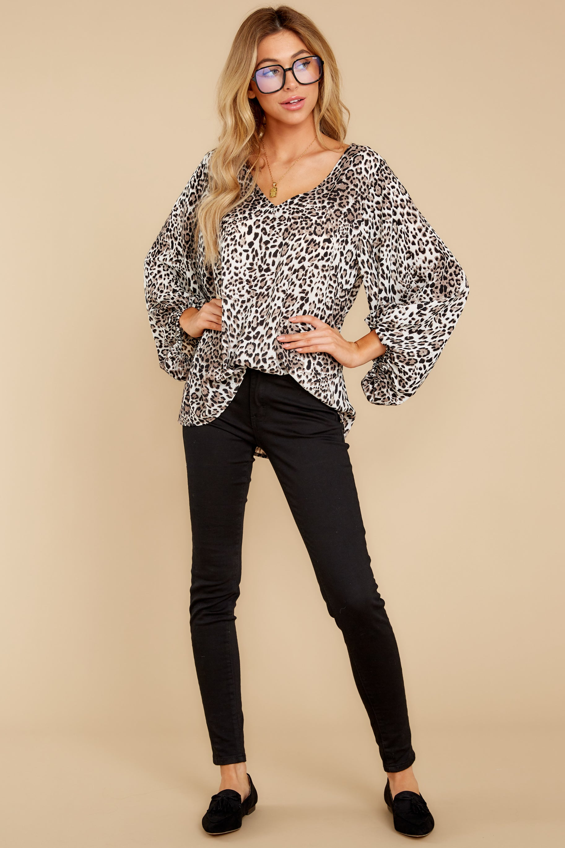 2 Let's Go Ivory Leopard Print Top at reddressboutique.com