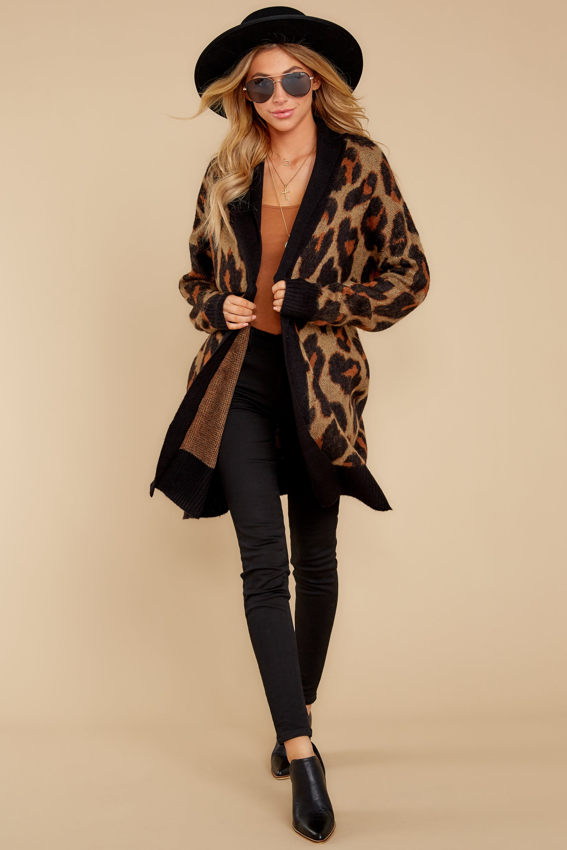 2 Fauve Oversized Leopard Print Cardigan Sweater at reddressboutique.com