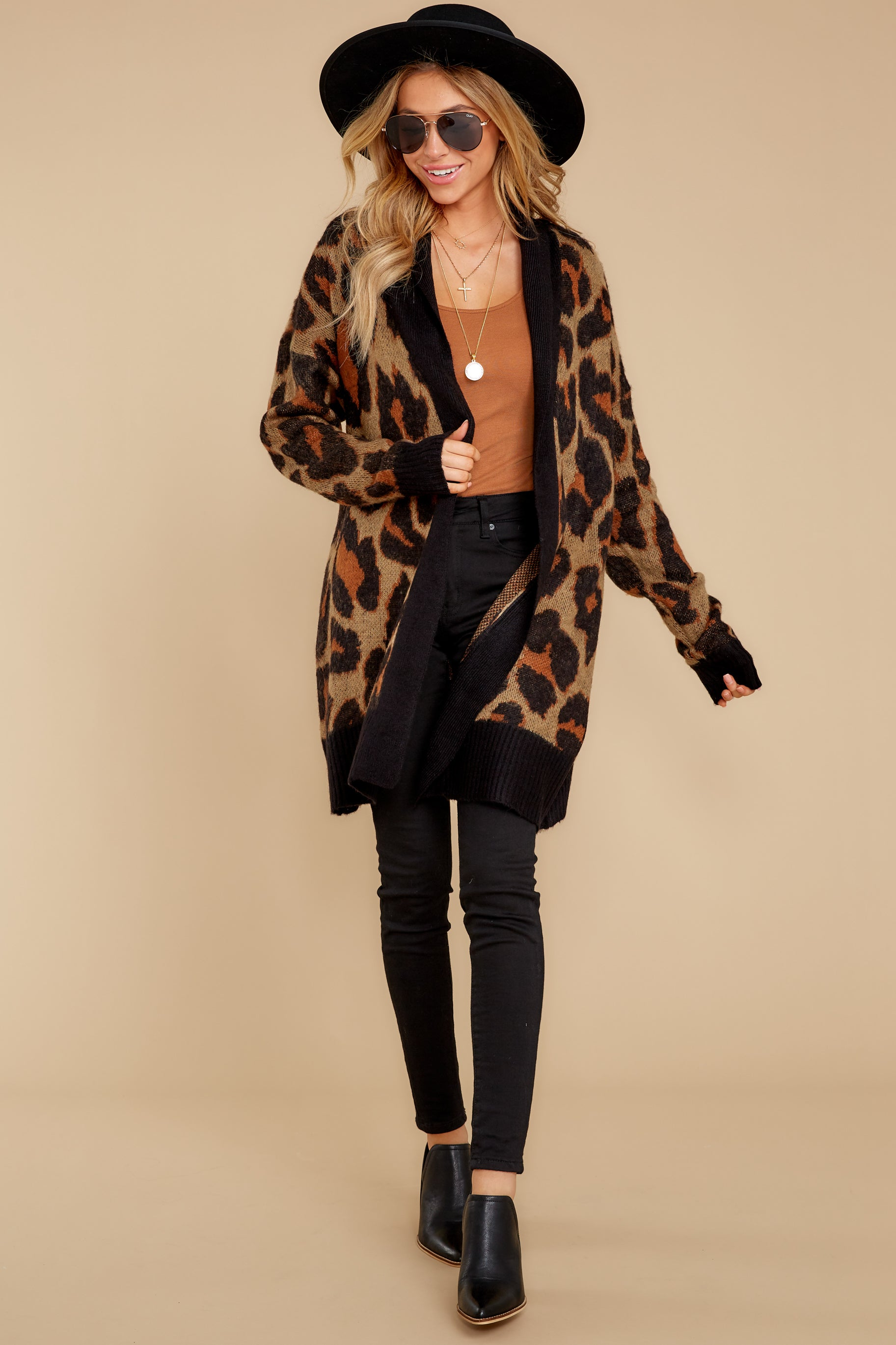 1 Fauve Oversized Leopard Print Cardigan Sweater at reddressboutique.com
