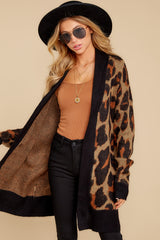3 Fauve Oversized Leopard Print Cardigan Sweater at reddressboutique.com