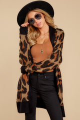 4 Fauve Oversized Leopard Print Cardigan Sweater at reddressboutique.com
