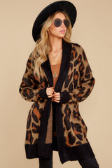 5 Fauve Oversized Leopard Print Cardigan Sweater at reddressboutique.com