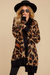 6 Fauve Oversized Leopard Print Cardigan Sweater at reddressboutique.com