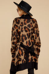 7 Fauve Oversized Leopard Print Cardigan Sweater at reddressboutique.com
