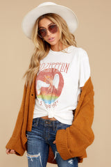5 Led Zeppelin Tour 1975 White Oversized Tee at reddressboutique.com