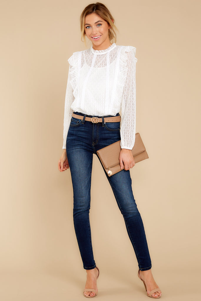 Think Twice White Eyelet Bodysuit