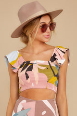 6 The Last Time Pink Multi Print Crop Top at reddressboutique.com