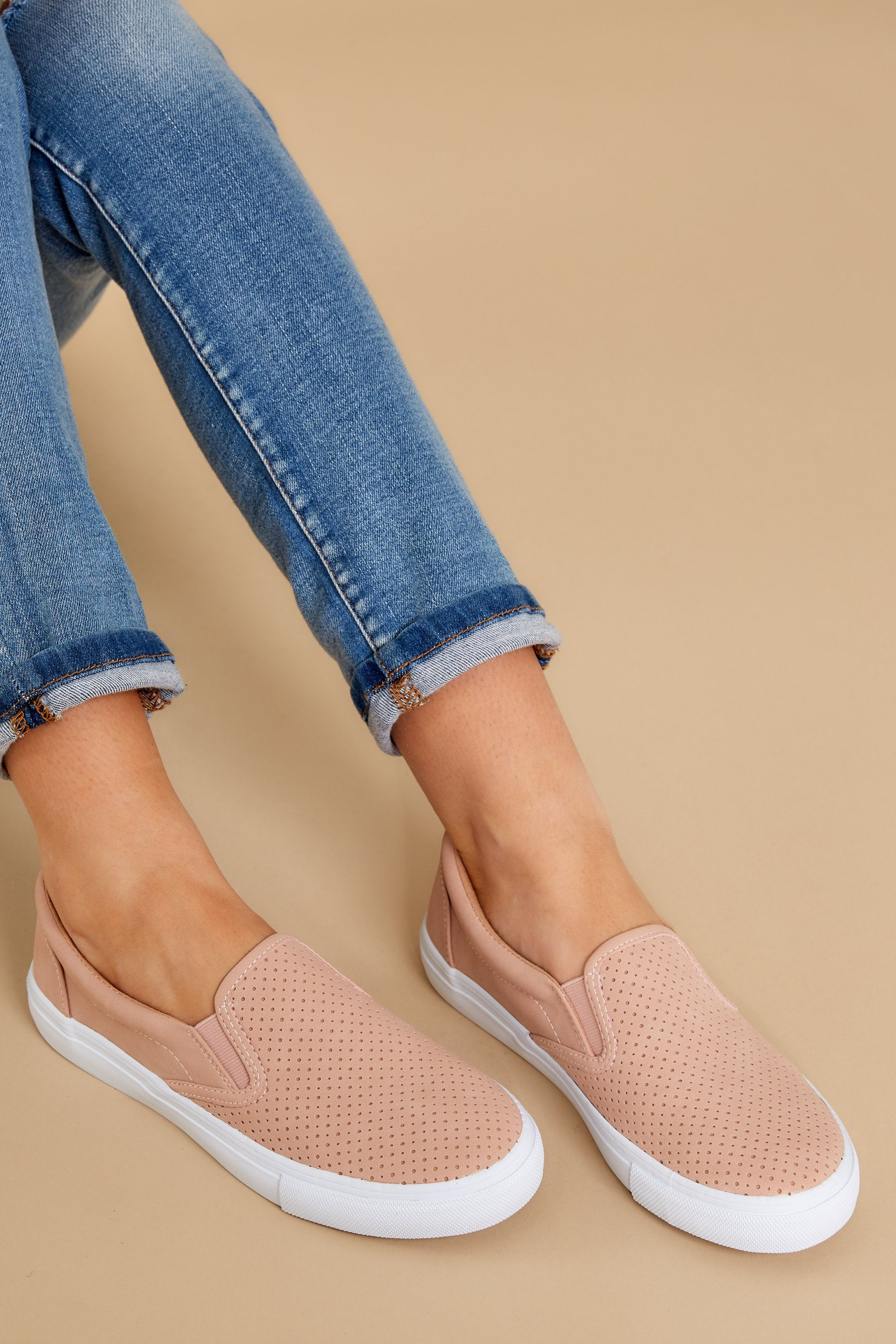 4 One Step Away Light Pink Slip On Sneakers at reddressboutique.com