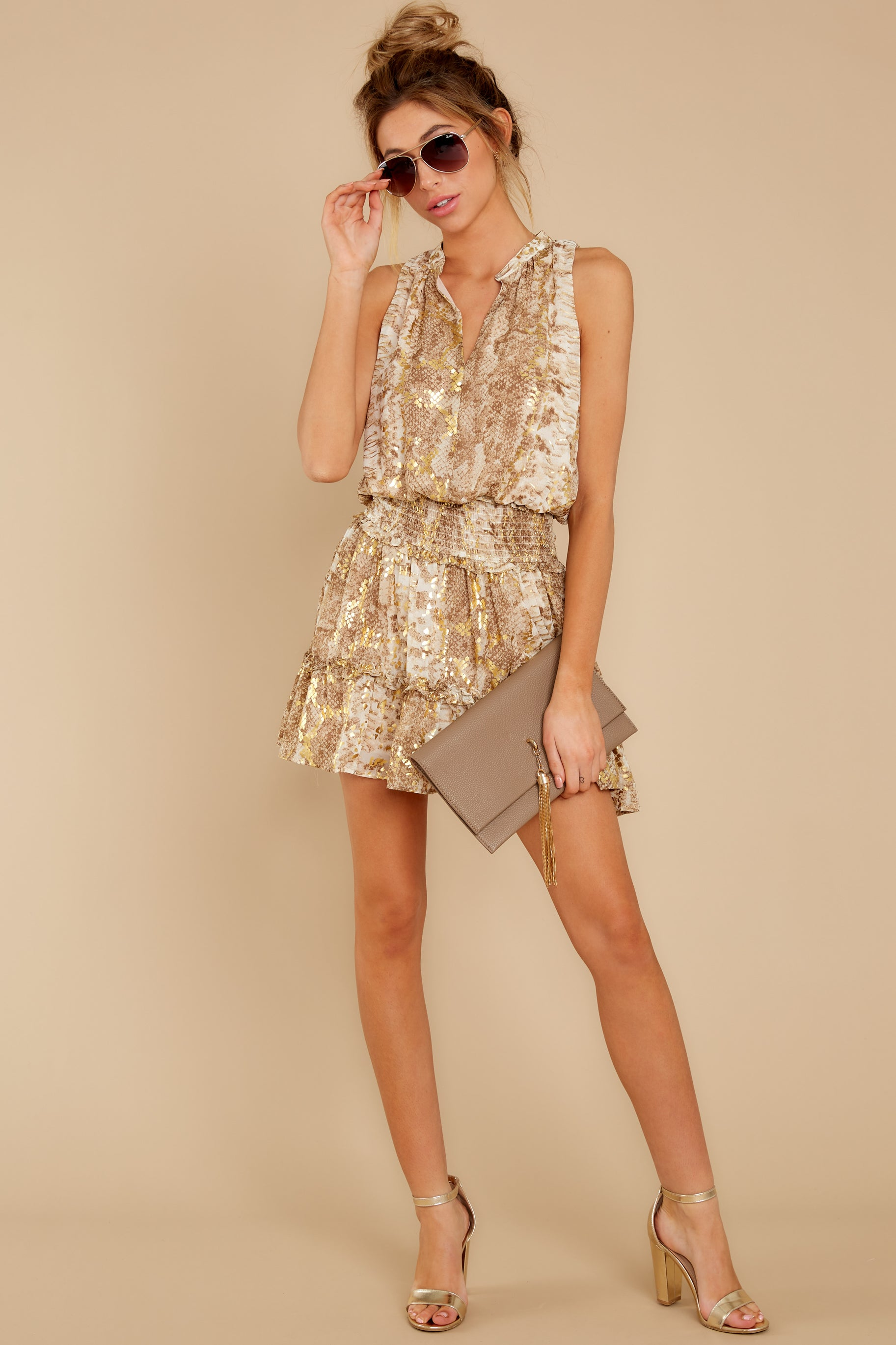 2 Living Mirage Gold Print Dress at reddressboutique.com