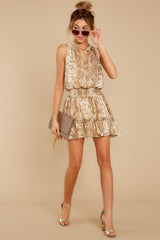 3 Living Mirage Gold Print Dress at reddressboutique.com