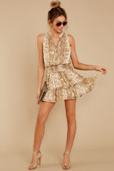 1 Living Mirage Gold Print Dress at reddressboutique.com