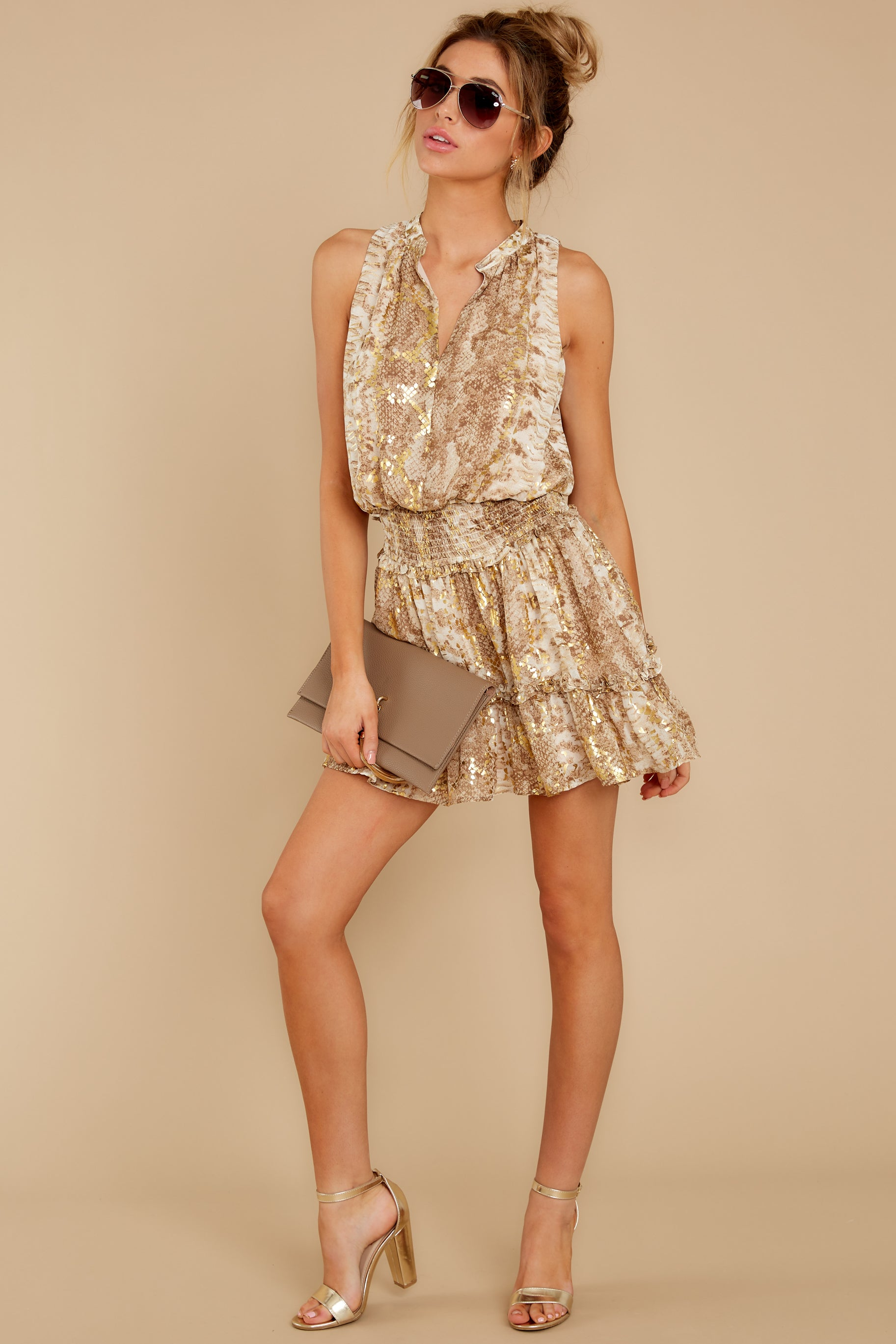 4 Living Mirage Gold Print Dress at reddressboutique.com