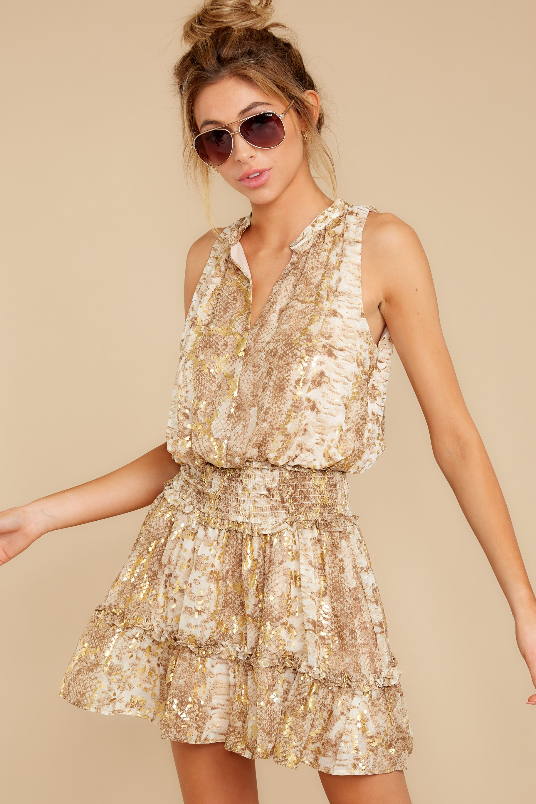 5 Living Mirage Gold Print Dress at reddressboutique.com