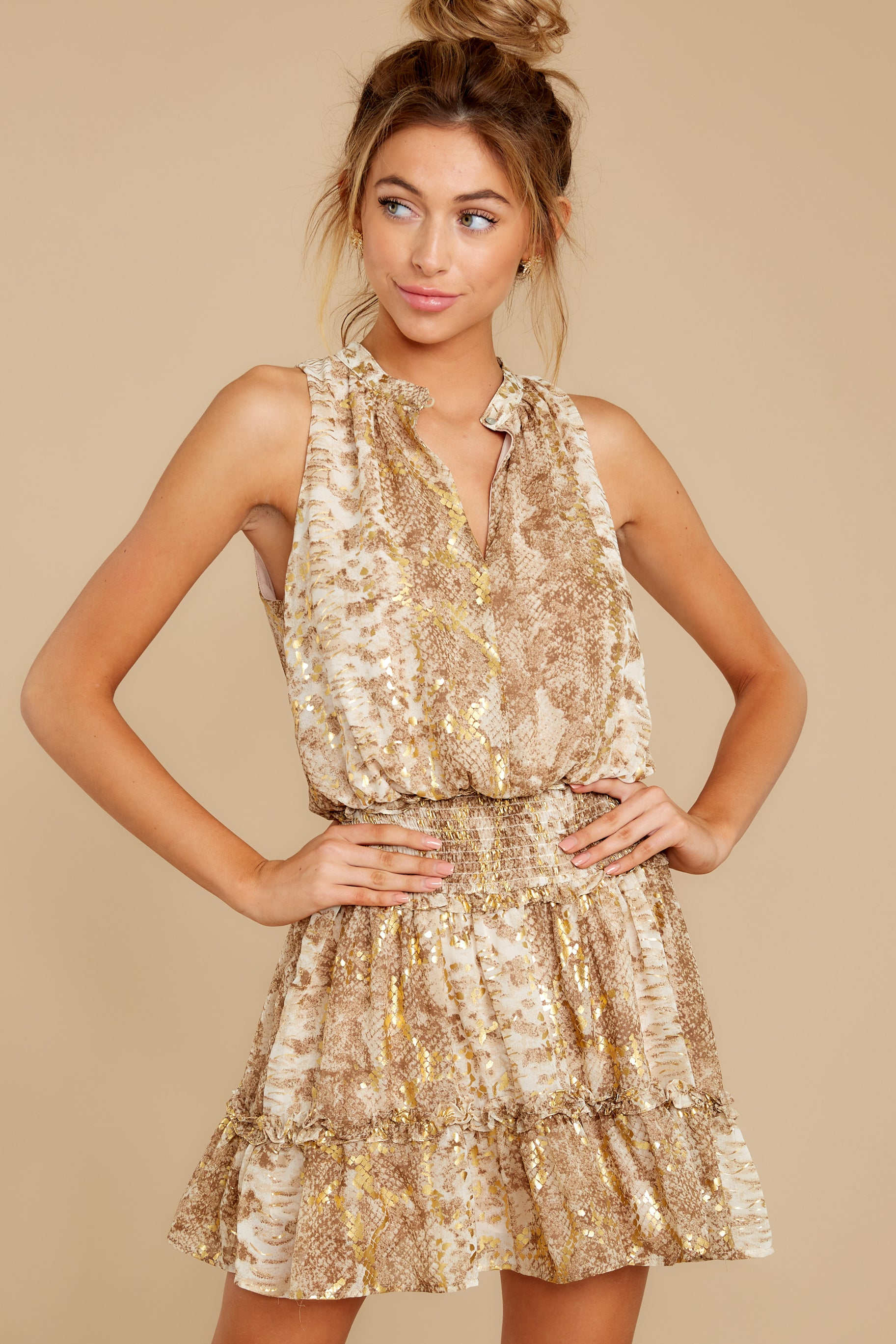 6 Living Mirage Gold Print Dress at reddressboutique.com