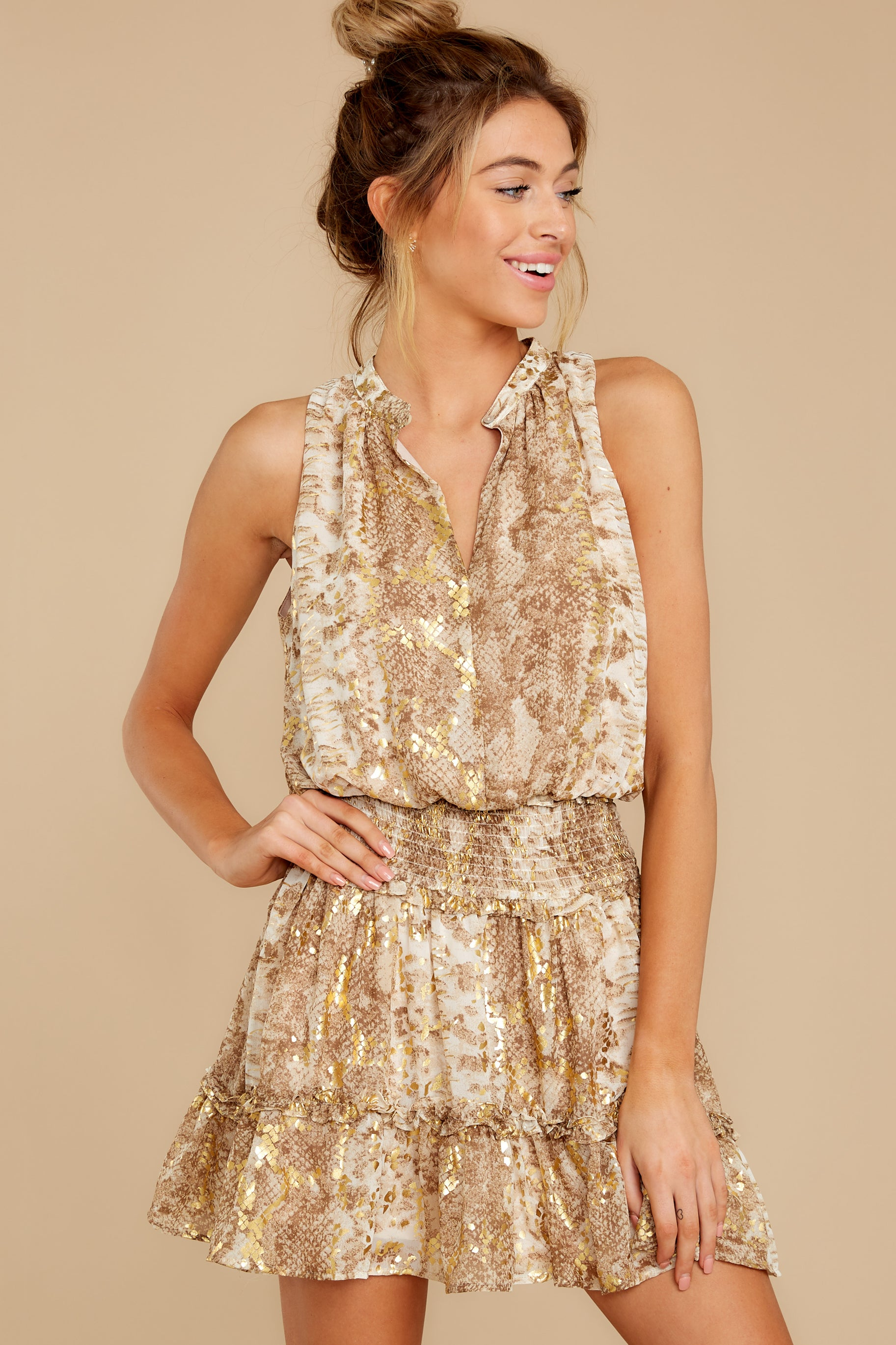 7 Living Mirage Gold Print Dress at reddressboutique.com