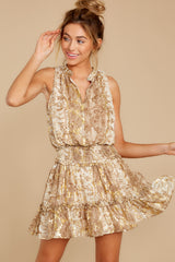 8 Living Mirage Gold Print Dress at reddressboutique.com