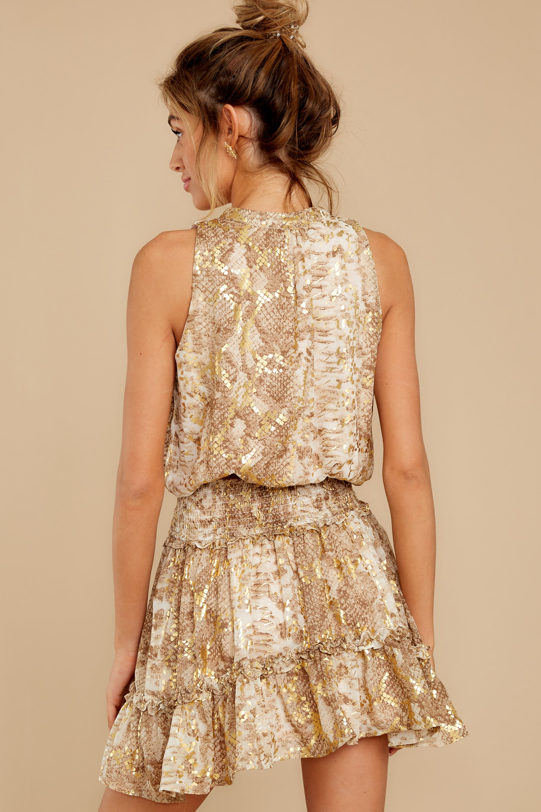 9 Living Mirage Gold Print Dress at reddressboutique.com