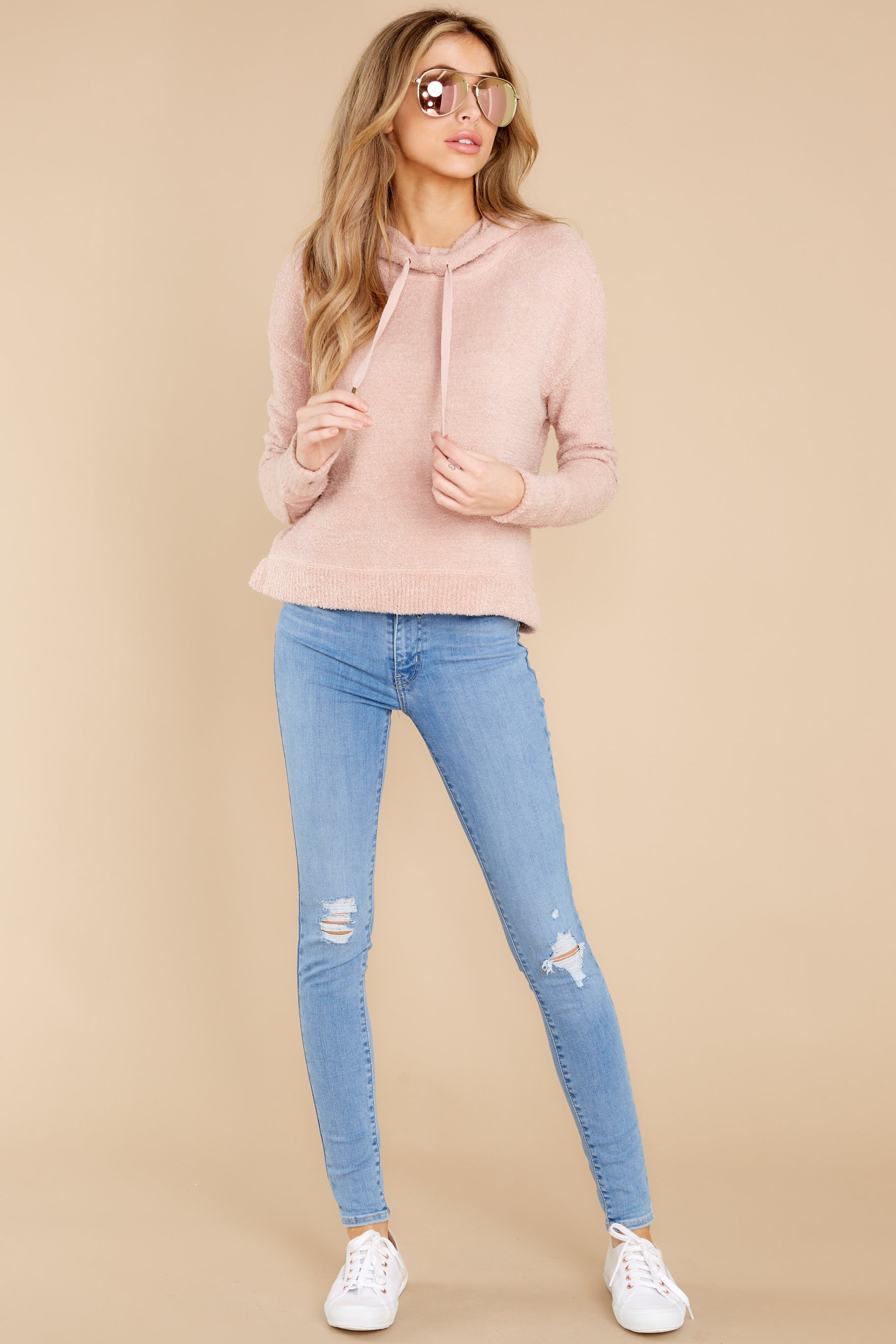 3 Kacey Silver Pink Feather Hoodie at reddress.com