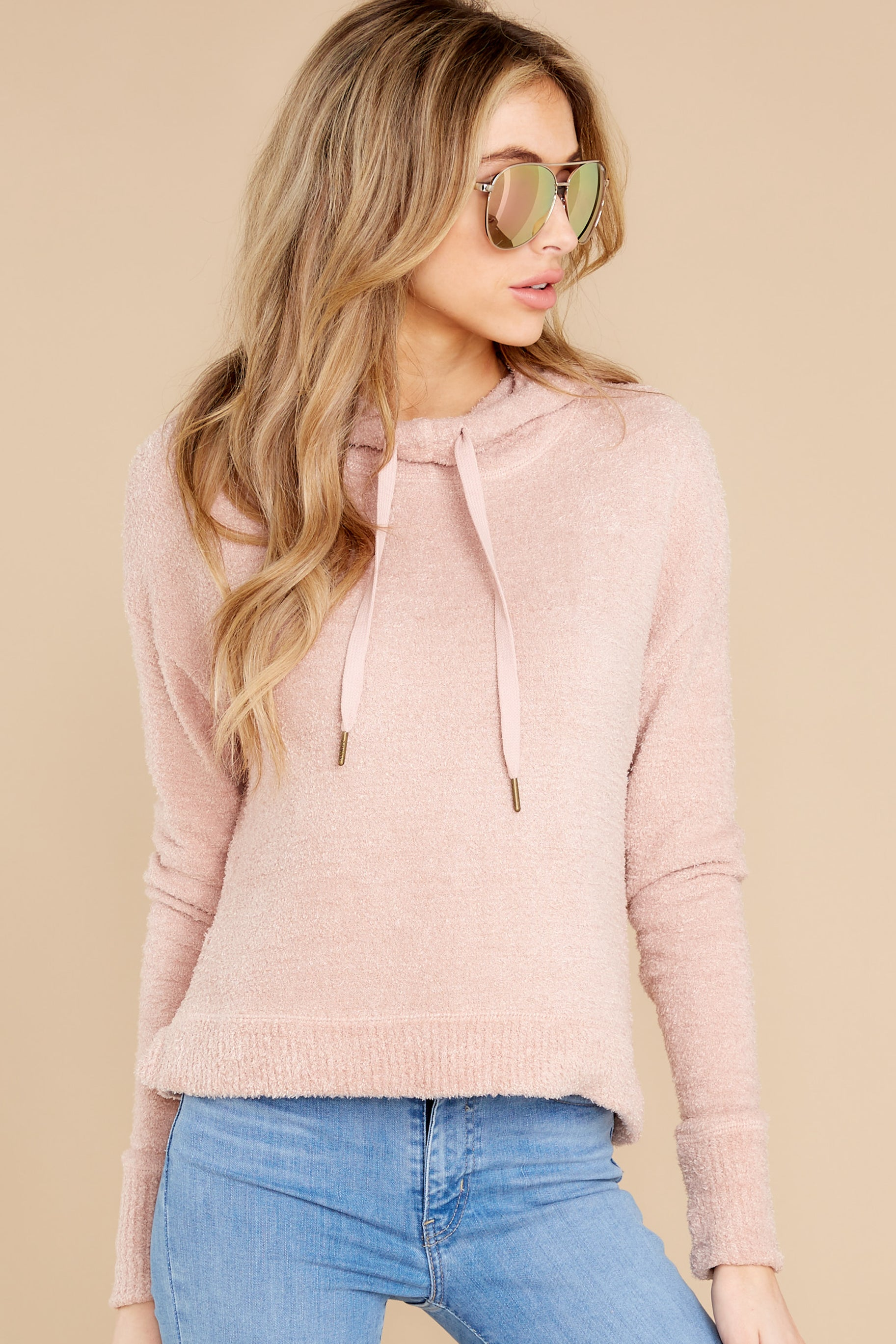 1 Kacey Silver Pink Feather Hoodie at reddress.com