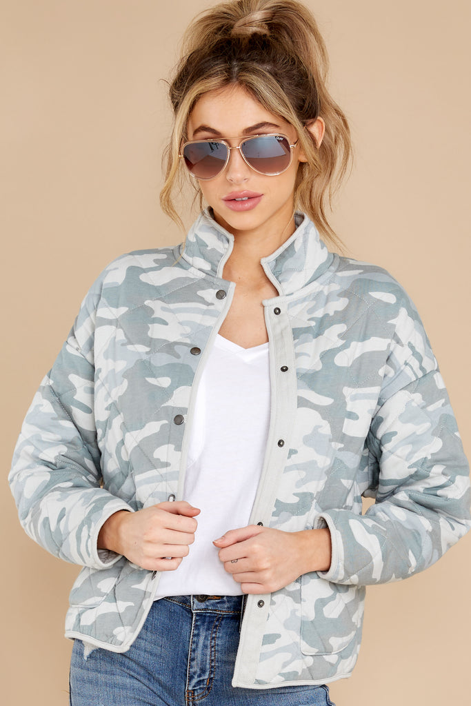 1 Maya Dusty Sage Camo Quilted Jacket at reddress.com