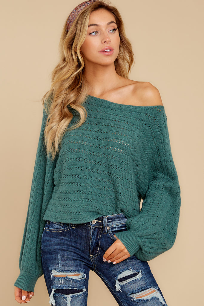 5 Wind Down Green Sweater at reddressboutique.com