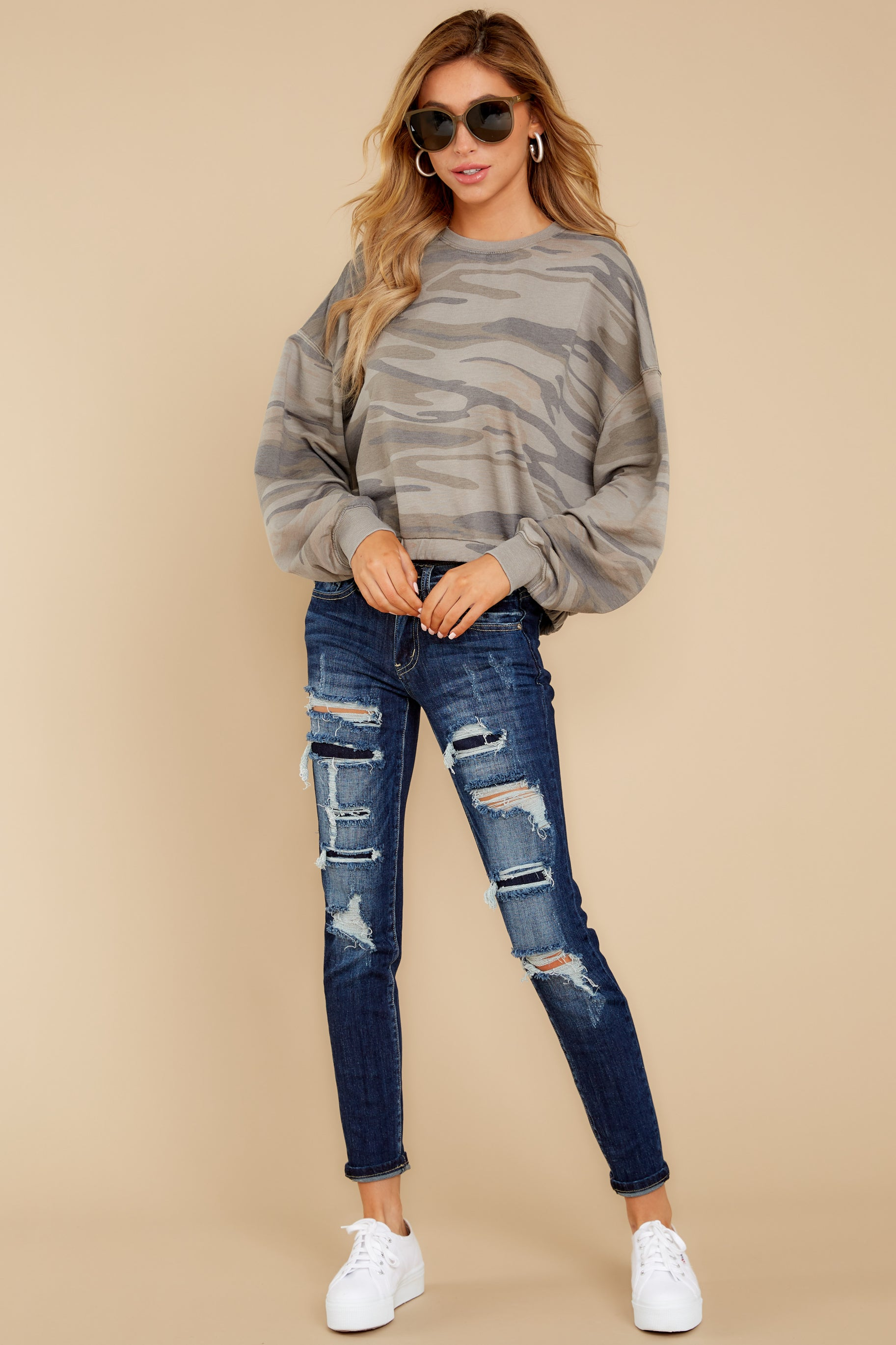 2 The Relaxed Light Sage Camo Pullover at reddressboutique.com
