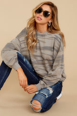4 The Relaxed Light Sage Camo Pullover at reddressboutique.com