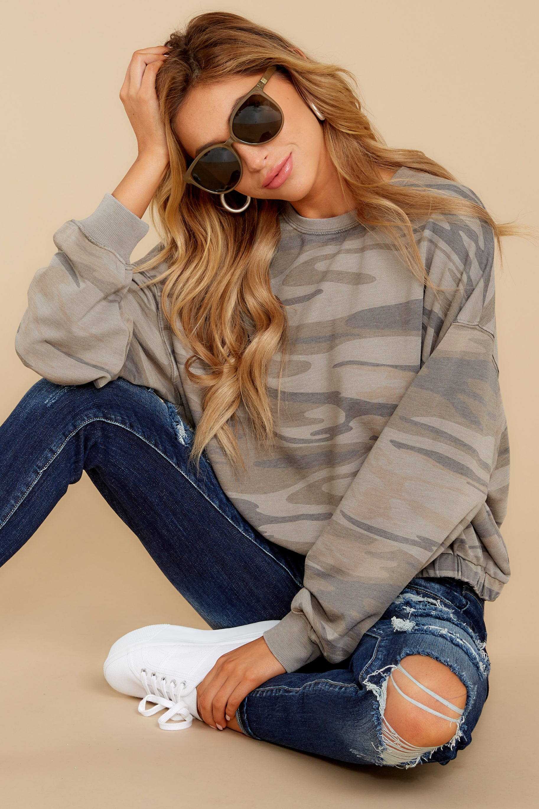 5 The Relaxed Light Sage Camo Pullover at reddressboutique.com