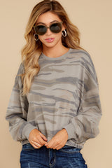 6 The Relaxed Light Sage Camo Pullover at reddressboutique.com
