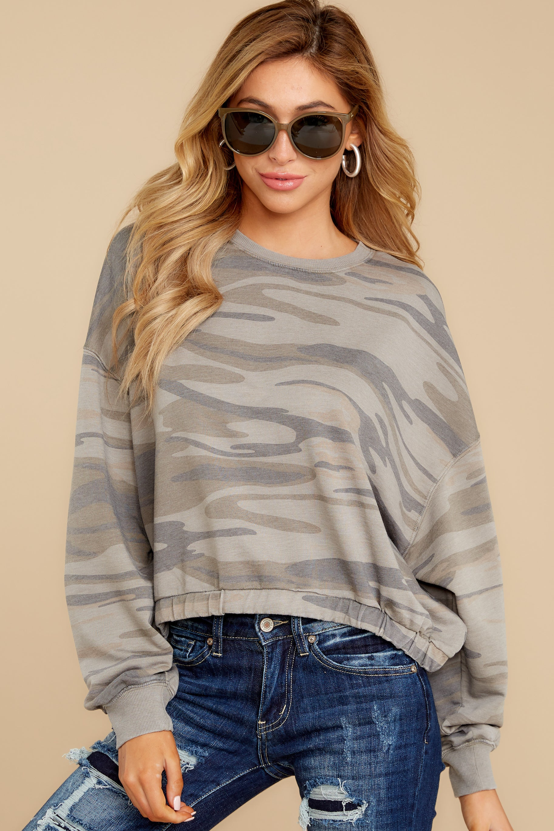 7 The Relaxed Light Sage Camo Pullover at reddressboutique.com