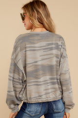 9 The Relaxed Light Sage Camo Pullover at reddressboutique.com