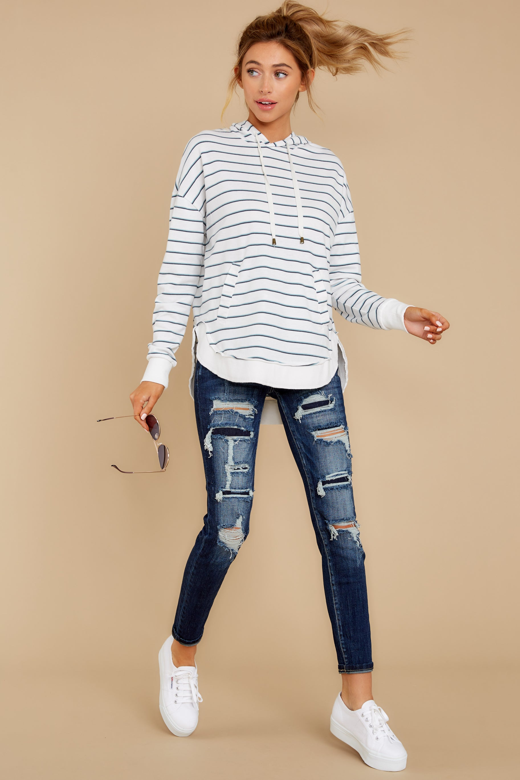 2 The Desert White Sierra Stripe Dakota Pullover at reddressboutique.com