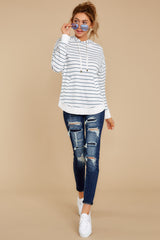3 The Desert White Sierra Stripe Dakota Pullover at reddressboutique.com