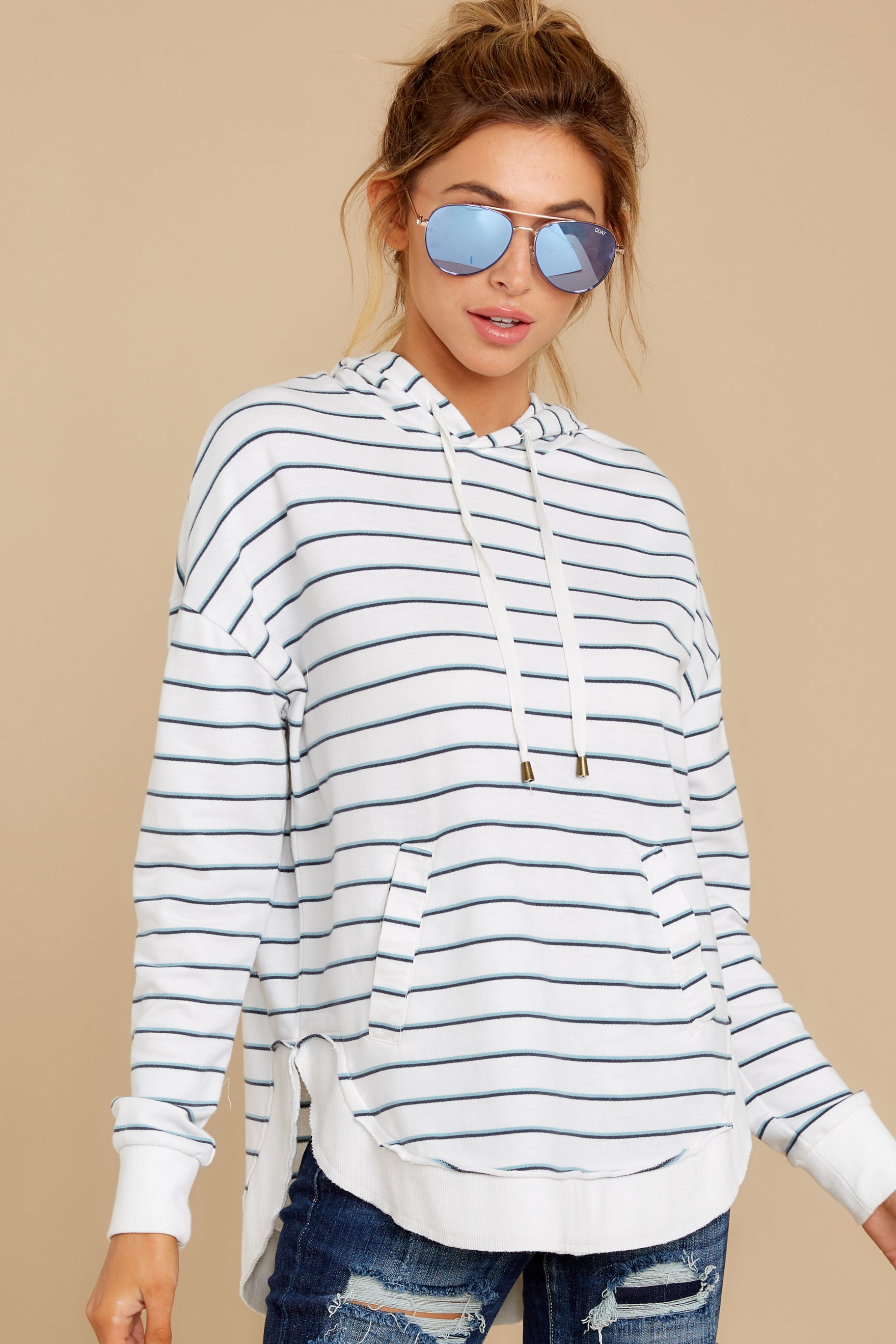 4 The Desert White Sierra Stripe Dakota Pullover at reddressboutique.com